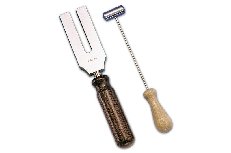Tuning fork 2000 Hz, with striking hammer