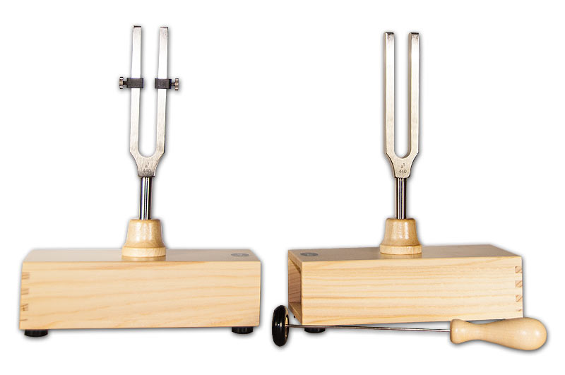Pair of tuning forks a1 = 440 Hz, with resonance cases